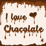 I love chocolate template with melting effect Royalty Free Stock Images