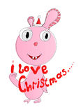 I love Christmas. Fictional animal and text i loves Christmas. Vector illustration Royalty Free Stock Photography