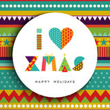I love christmas greeting card design in fun color Royalty Free Stock Photo