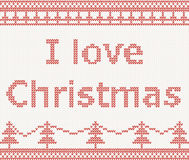 I love Christmas. Knitted pattern Royalty Free Stock Image