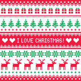 I love Christmas pattern - scandynavian sweater style Stock Image
