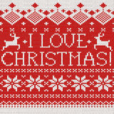 I love Christmas: Scandinavian seamless knitted pattern Stock Photos