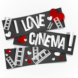 I Love Cinema. Banners vector illustration Stock Images