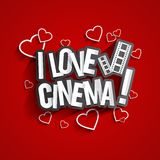 I Love Cinema. Design With Hearts And Filmstrip On Red Background vector illustration Royalty Free Stock Photography