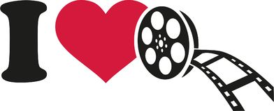 I love cinema with film roll. Vector Stock Images