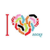 I love clean socks. Heart symbol of colored clean socks. Vector. Illustration Royalty Free Stock Photo
