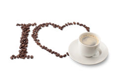 I Love coffe sign. Heart and white cup of espresso isolated on white Stock Photo