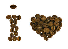 I love coffee. From beans isolated on white (clipping path Royalty Free Stock Photos