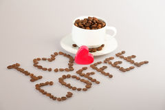 I love coffee. Inscription 'I love coffee' from coffee grains Royalty Free Stock Images