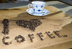 I love coffee. Concept using coffee beans Stock Photography