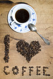 I love coffee. Concept using coffee beans Royalty Free Stock Photography