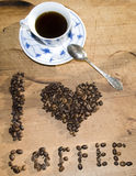 I love coffee. Concept using coffee beans Royalty Free Stock Images