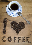 I love coffee. Concept using coffee beans Royalty Free Stock Photo