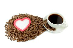 I love coffee. Coffe, coffee beans, heart, and I love coffee Royalty Free Stock Photo