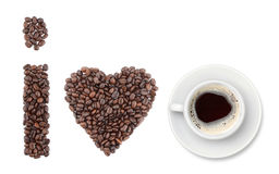 I love coffee. Shapes made from coffee beans. Isolated on white background Stock Photo