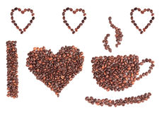 I love coffee. Written with coffee beans Stock Images