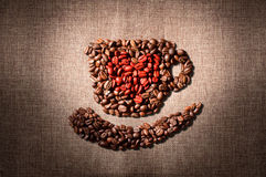 I love coffee. Arrangement of coffee beans into shape of cup Stock Image