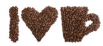 I love coffee. Objects made of coffe beans royalty free stock photography