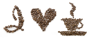 I love coffee. Text wrote by beans Stock Image