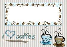 I love coffee. Coffee card or banner with stripes cups and coffee beans royalty free illustration