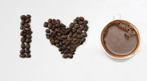 I love coffee with beans. I love coffee creation with beans and black cyprus coffee Royalty Free Stock Photo