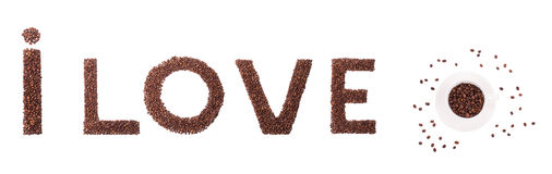 I love coffee beans sign. Royalty Free Stock Images