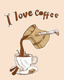 I love coffee. Card with white cup and copper cezve Stock Image