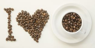 I love coffee. I love coffe of roasted coffee beans Royalty Free Stock Images
