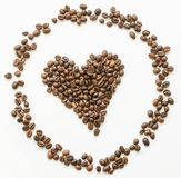 I love coffee. I love coffe of roasted coffee beans Royalty Free Stock Image