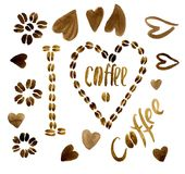 `I love coffee` from coffee beans. A coffee heart and an inscription in it. Flower from coffee, Coffee hearts. The inscription `Coffee`. Watercolor Royalty Free Stock Photography