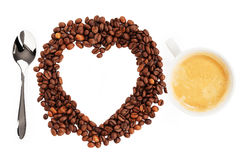 I love coffee beans. I love coffee with coffee beans on white background Stock Photo