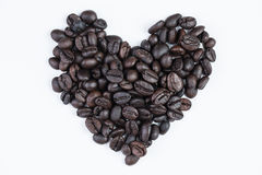 I love coffee concept. Love shape coffee bean with white background Royalty Free Stock Images
