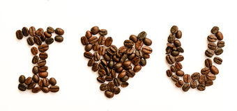 I love coffee. Concept using coffee bean isolated on white Royalty Free Stock Photo