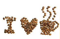 I love coffee. Concept using coffee bean isolated on white Stock Photo