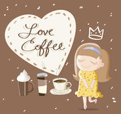 I love coffee. Cute cartoon illustration I love coffee Royalty Free Stock Photography