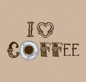 I love coffee design Stock Images