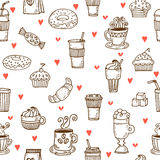 I love coffee. Hand drawn seamless pattern with coffee cups, don Royalty Free Stock Photography