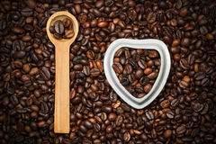I Love Coffee - Heart and Coffee Beans Royalty Free Stock Image