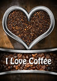 I Love Coffee - Heart with Roasted Coffee Beans Stock Photography