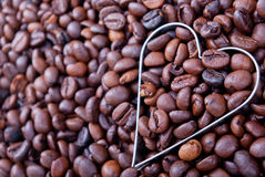 I Love Coffee. Heart shape in fresh coffee beans Stock Photo