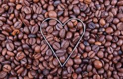I Love Coffee. Heart shape in fresh coffee beans Stock Image