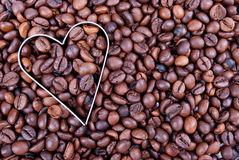 I Love Coffee. Heart shape in fresh coffee beans Stock Photography