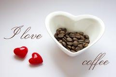 I love coffee - hearts, grains, bowl Royalty Free Stock Photo