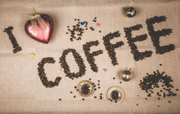 I Love coffee inscription with beans Royalty Free Stock Photos