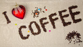 I Love coffee inscription with beans Royalty Free Stock Photography