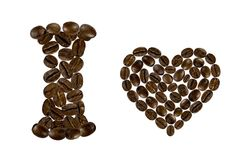I love coffee. Inscription from coffee beans on white background Stock Photography