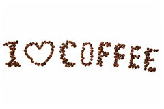 I love coffee inscription with coffee beans Royalty Free Stock Photography