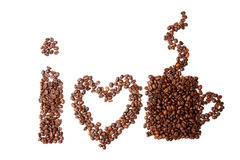 I love coffee isolated on white background Stock Photography