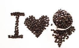 I Love coffee made from coffee beans Royalty Free Stock Image