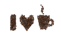 I Love Coffee phrase spelled out of coffee beans isolated on whi Royalty Free Stock Photography